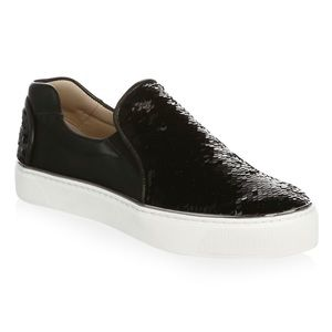 Stuart Weitzman Black Sequin Slip On Sneakers